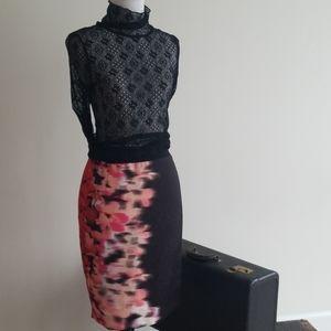   TAHARI   Pencil skirt, floral, black